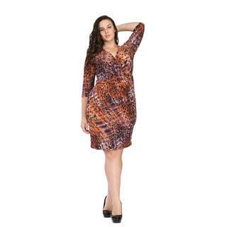 24/7 Comfort Apparel Women's Plus Size Spotted Plaid Dress