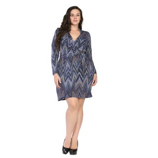 24/7 Comfort Apparel Women's Plus Size Jagged Stripe Mosaic Wrap Dress