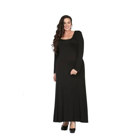 24/7 Comfort Apparel Women's Plus Size Long Sleeve Maxi Dress