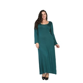 24/7 Comfort Apparel Women's Plus Size Long Sleeve Maxi Dress