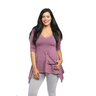24/7 Comfort Apparel Women's Magenta/ Grey Striped Tunic