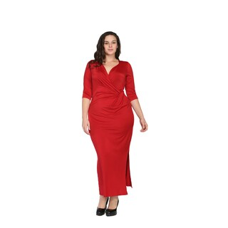 24/7 Comfort Apparel Women's Plus Size Long V-neck Wrap Dress