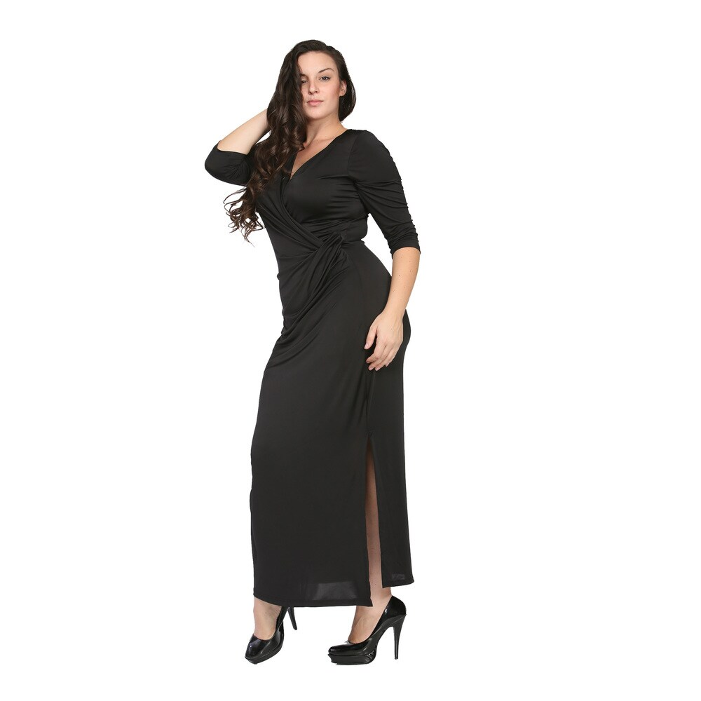 24/7 Comfort Apparel Womens Plus Size Long V-neck Wrap Dress