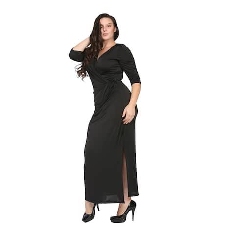24/7 Comfort Apparel Women's Plus Size Long V-neck Wrap Dress
