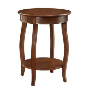 Powell Seaside Hazelnut Round Table with shelf