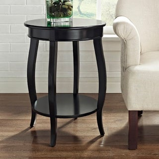 Powell Seaside Black Round Table with Shelf. Round Coffee  Sofa   End Tables   Affordable Accent Tables