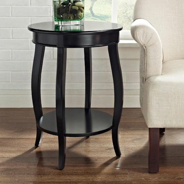 Powell Seaside Black Round Table With Shelf Free