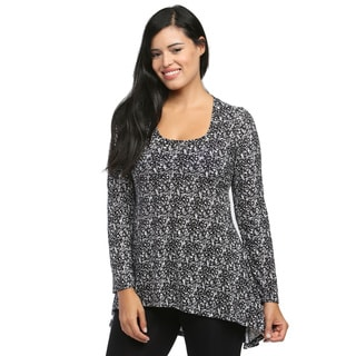 24/7 Comfort Apparel Women's Black/ White Abstract Printed Tunic