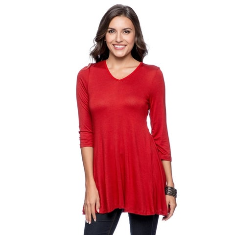 24/7 Comfort Apparel Women's V-neck Tunic- Plus Size Included