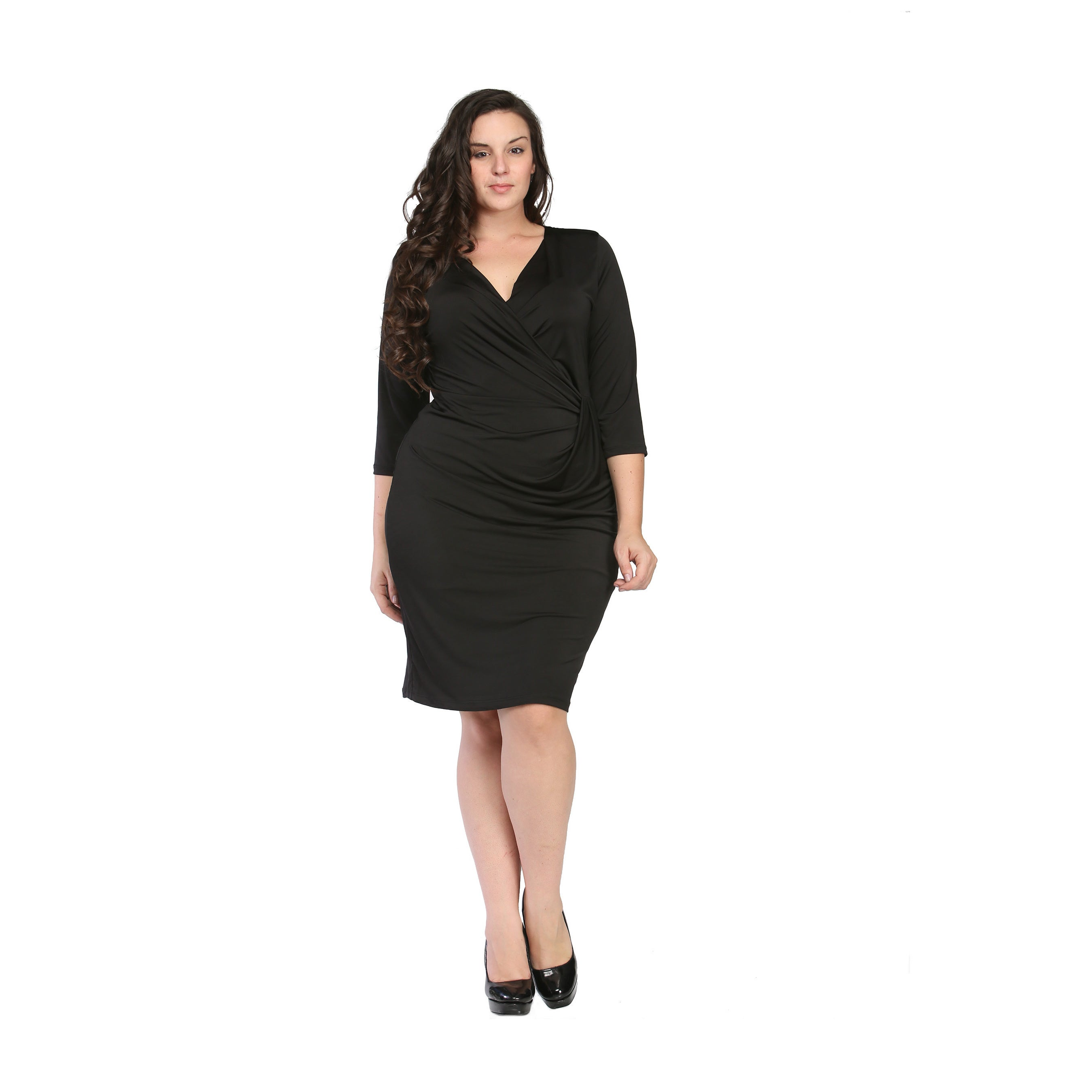 24/7 Comfort Apparel Women\'s Plus Size Black Wrap Dress
