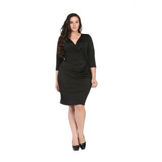 24/7 Comfort Apparel Women's Plus Size Black Wrap Dress