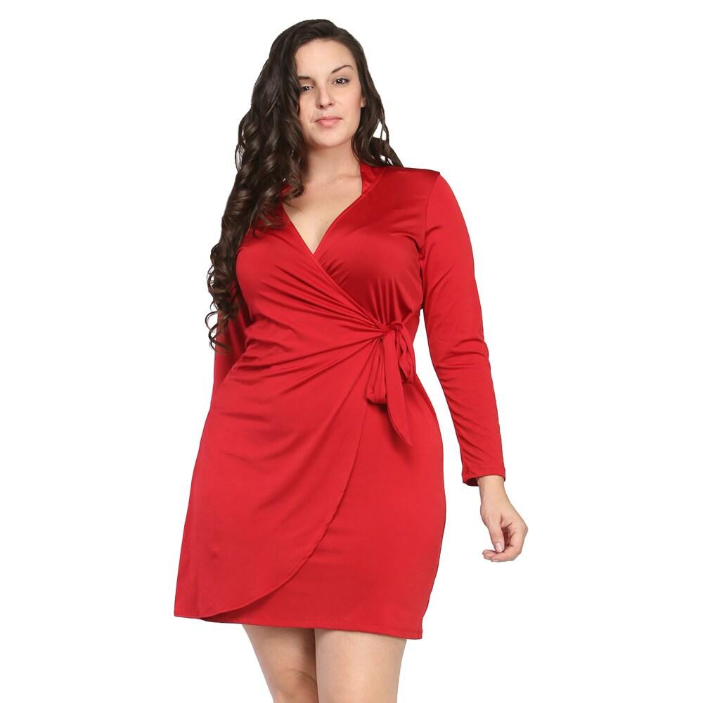 24/7 Comfort Apparel Women\'s Plus Size Deep V-neck Long Sleeve Dress