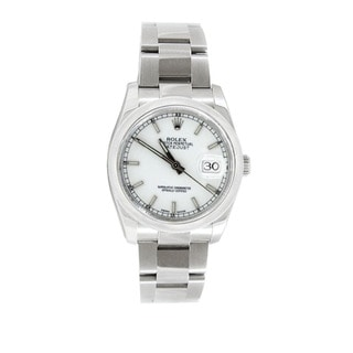 Pre-owned Rolex Men's Datejust 116200 Stainless Steel White Dial Watch