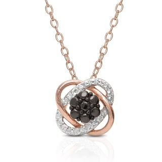 Finesque Rose Gold Over Sterling Silver Diamond Accent Love Knot Style Necklace