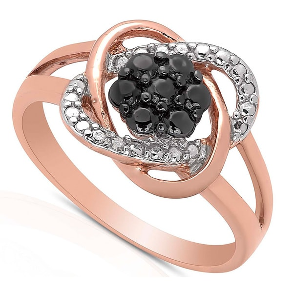 Finesque Rose Gold Over Sterling Silver Diamond Accent Love Knot Design Ring
