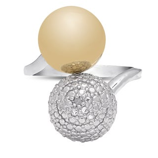 Finesque Gold Over Sterling Silver Diamond Accent Two-tone Ball Ring