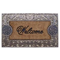 A1HC - FIRST IMPRESSION Rubber and Coir Brush Large Doormat (1'11 x 3'2)