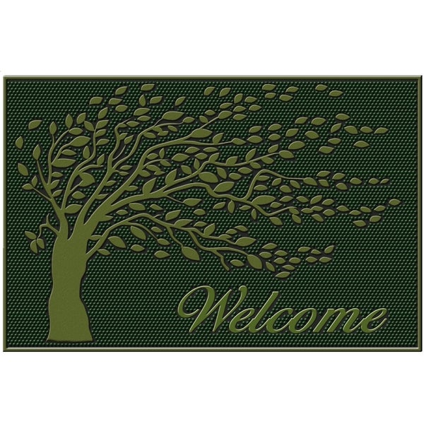 Shop Green Shredding Leaf Rubber Mat Free Shipping On