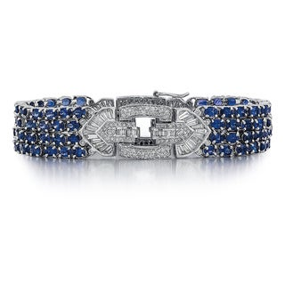 18k White Gold 3 1/6ct TDW Diamond and Sapphire Bracelet (G-H, SI1-SI2)