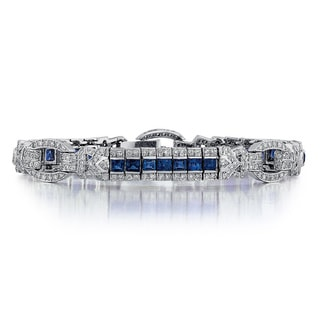 14k White Gold 1/2ct TDW Diamond and Sapphire Bracelet (G-H, SI1-SI2)