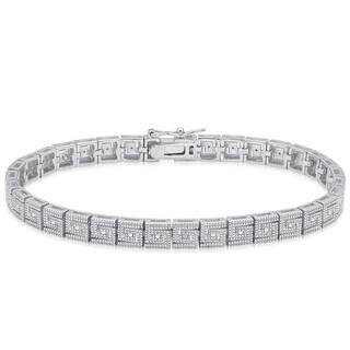 Finesque Sterling SIlver Diamond Accent Greek Key Link Bracelet