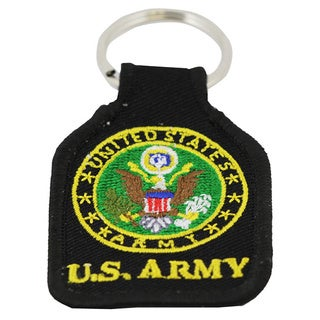 US Army Embroidered Black Keychain