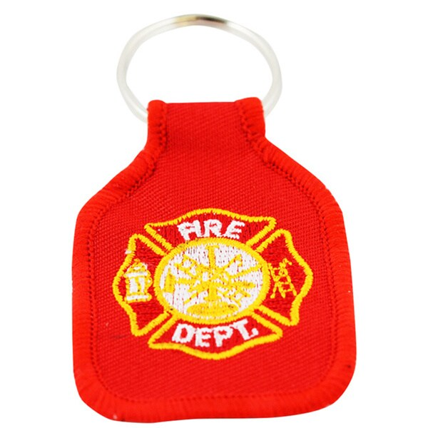 Fire Department Embroidered Keychain