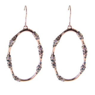 De Buman 18k Rose Gold Plated and Black Czech Earrings