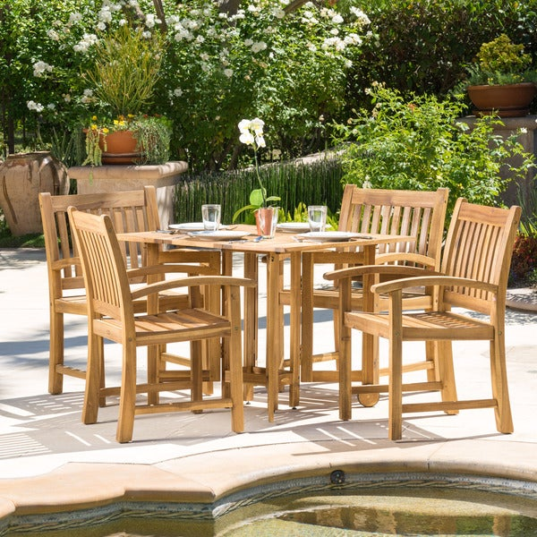 Riviera 5 Piece Outdoor Wood Folding Table And Dining Chair Set By Christopher Knight Home