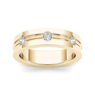De Couer 14k Yellow Gold 1/2ct TDW White Diamond Metal Ring