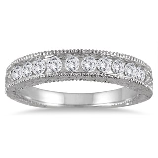 Marquee Jewels 10k White Gold 1/2ct TDW Engraved Diamond Band