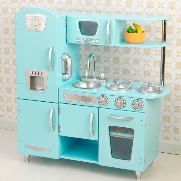 Realistic Play Kitchen Ultimate Corner With Lights And: Shop KidKraft Blue Vintage Kitchen