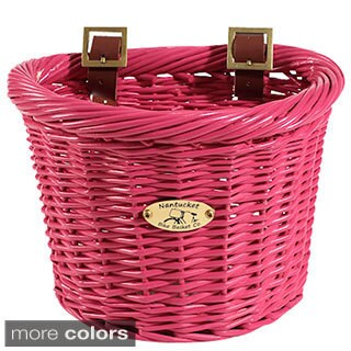 Nantucket Bicycle Basket Co. Gull Kid's D-Shape Pink Bicycle Basket