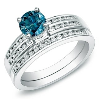 Auriya 14k Gold 1ct TDW Blue Round Diamond Bridal Set (SI1-SI2)