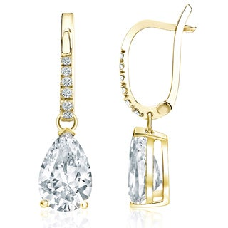 Auriya 18k Yellow Gold 2 1/10ct TDW Pear Shaped Diamond Leverback Dangle Earrings