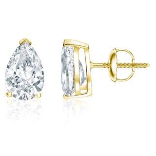 Auriya 18k Yellow Gold 2ct TDW Pear-Cut Diamond Solitaire Stud Earrings