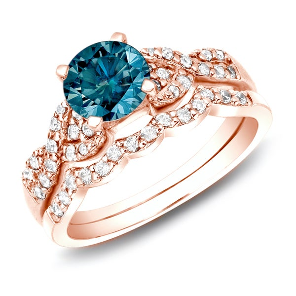 Auriya 14k Rose Gold 1ct TDW Blue Diamond Braided Bridal Ring Set