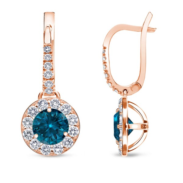 Auriya 14k Rose Gold 1/2ct to 2ct TDW Blue Halo Diamond Dangle Earrings