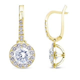 Auriya 14k Yellow Gold 1/2ct to 2ct TDW Round Diamond Leverback Earrings (H-I, SI1-SI2)