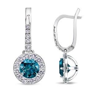 Auriya 1/2ct to 2ct TDW Blue Diamond Halo Dangle Earrings 14k White Gold
