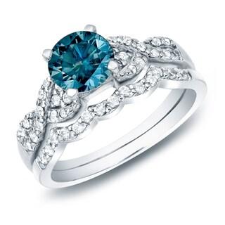 14k Gold 1ct TDW Braided Blue Diamond Engagement Ring Set by Auriya