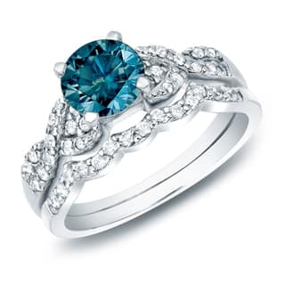 Auriya 14k Gold 1 carat TW Braided Twist Blue Diamond Engagement Ring Set