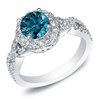 Auriya 14k Gold 1ct TDW Blue Diamond Halo Twisted Engagement Ring