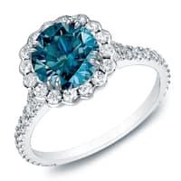 Auriya 14k Gold 1 1/2ct TDW Round Blue Diamond Halo Engagement Ring