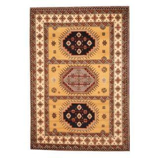 Herat Oriental Indo Hand-knotted Kazak Gold/ Ivory Wool Rug (5'9 x 8'2)