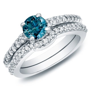 Auriya 14k Gold 1ct TW Round Blue Diamond Engagement Ring Set