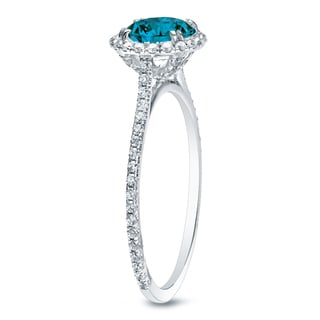 Auriya 14k Gold 1 1/2ct TDW Blue Round Diamond Halo Engagement Ring (SI1-SI2)
