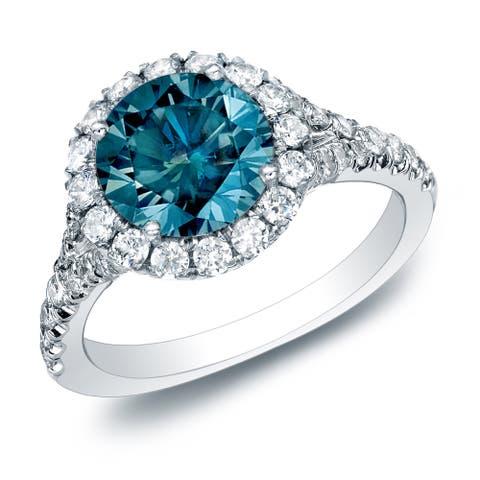 Auriya 14k Gold 1 1/2ctw Round Pave Halo Blue Diamond Engagement Ring