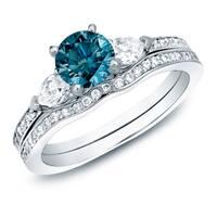 14k Gold Three Stone 1ct TDW Blue Diamond Engagement Ring Set by Auriya