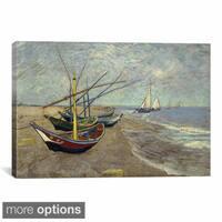 iCanvas Vincent van Gogh 'Fishing Boats on the Beach at les Saintes Maries de la Mer Canvas Print Wa
